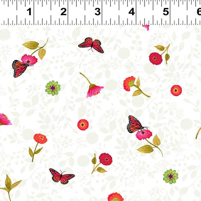 Zinnias in Bloom - Tossed Flowers Fabric - Trapunto edmonton local fabric store shop