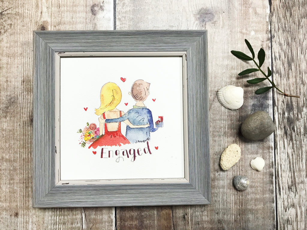 Little Framed Print Engaged Couple can be personalised