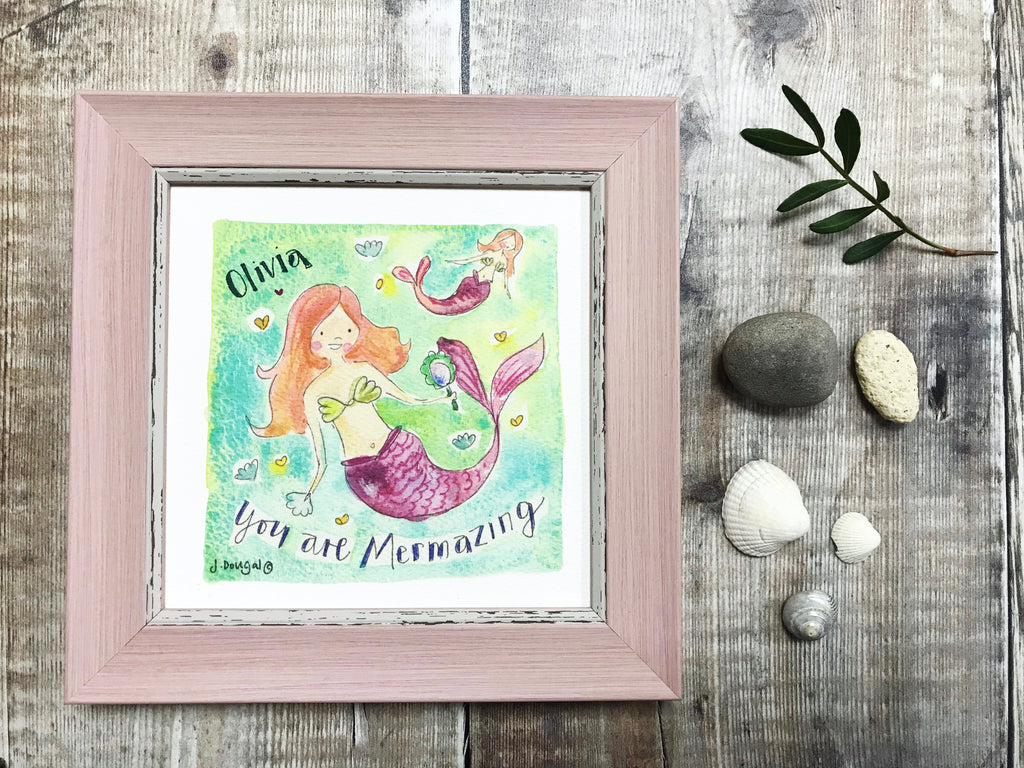 "Framed Print ""You are Mermazing"" can be personalised"