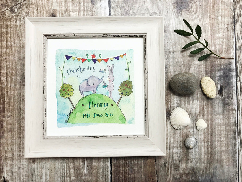 "Little Framed Print ""Christening Elephant"" can be personalised"