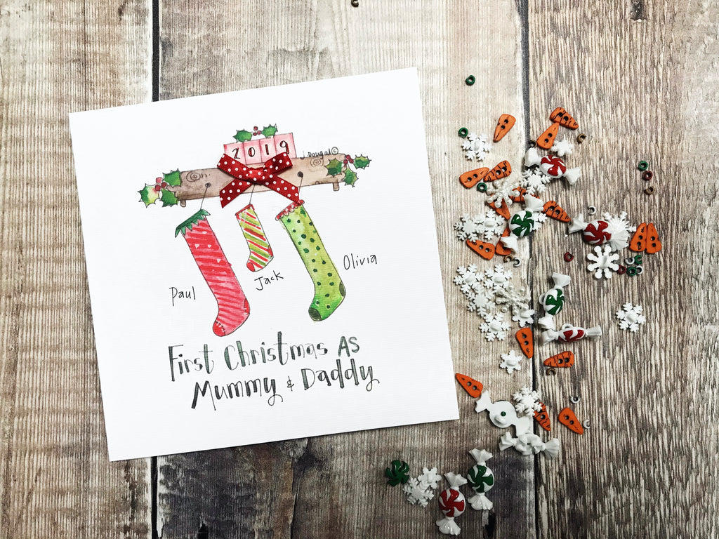 """First Christmas Stockings Mummy and Daddy"" Christmas Card - Personalised"
