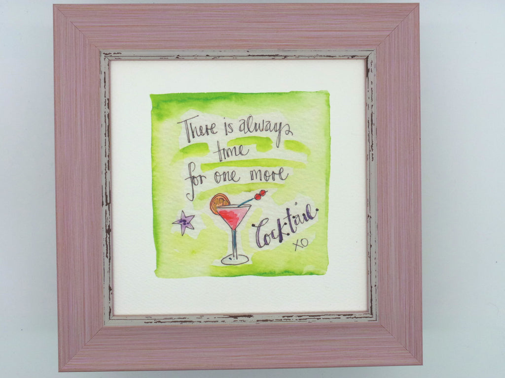 "Little Framed Print ""One More Cocktail"" can be personalised"
