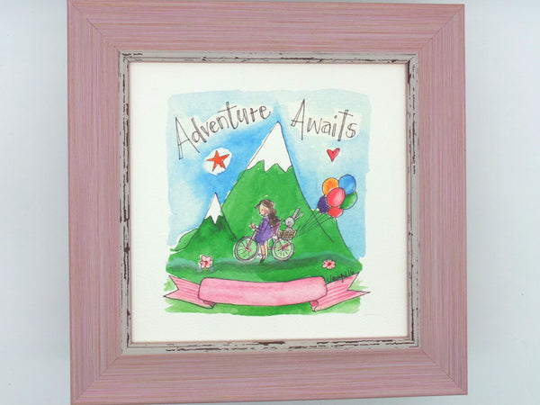 "Little Framed Print ""Adventure Awaits"" can be personalised"