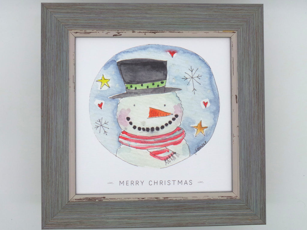 "Little Framed Print ""Snowman"" can be personalised"