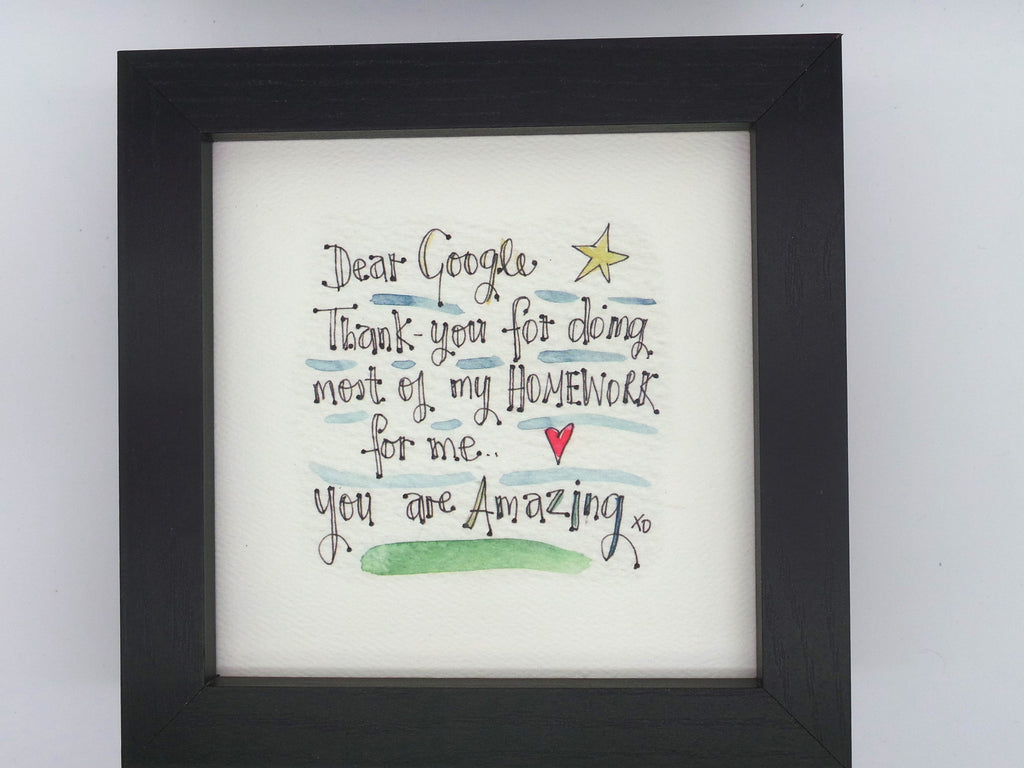 "Little Framed Print ""Dear Google"" can be personalised"