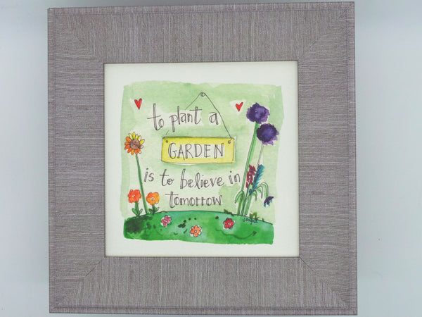 "Little Framed Print ""Plant a Garden"" can be personalised"