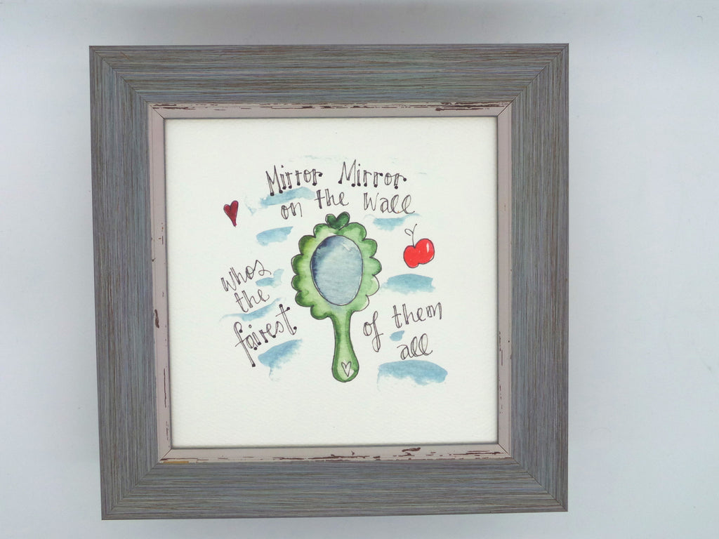 "Little Framed Print ""Mirror Mirror on the Wall"" can be personalised"