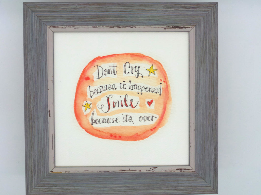 "Little Framed Print ""Smile because its Over"" can be personalised"