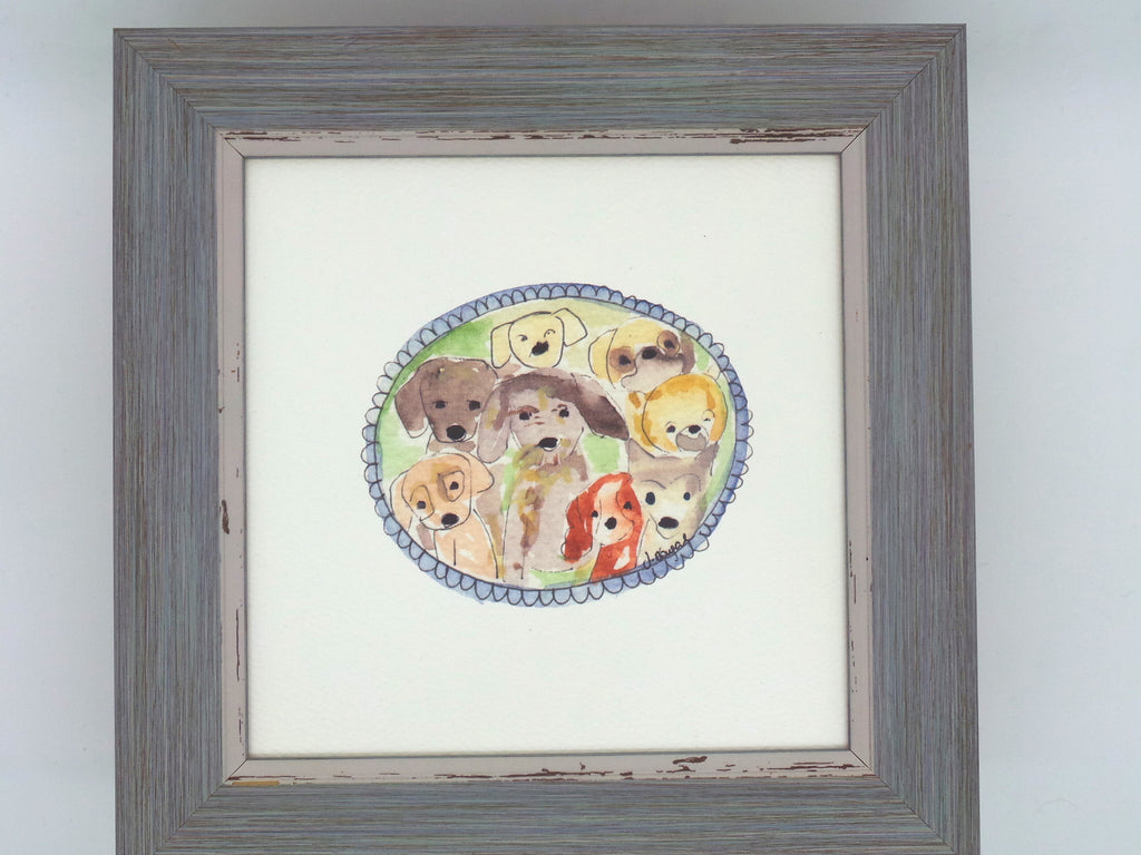 "Little Framed Print ""Dogs"" can be personalised"