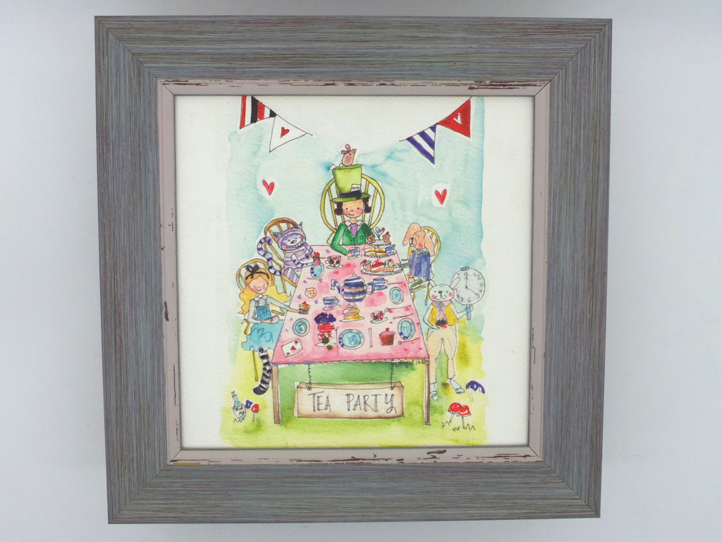 "Little Framed Print ""Tea Party"" can be personalised"