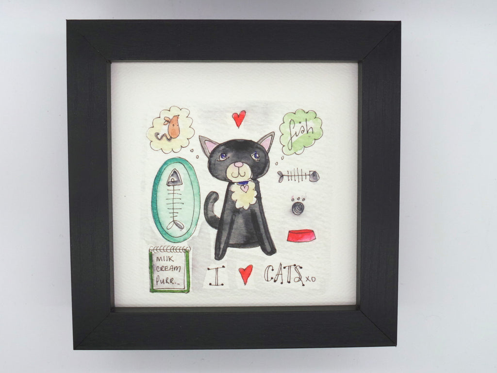 "Little Framed Print ""I love Cats"" can be personalised"