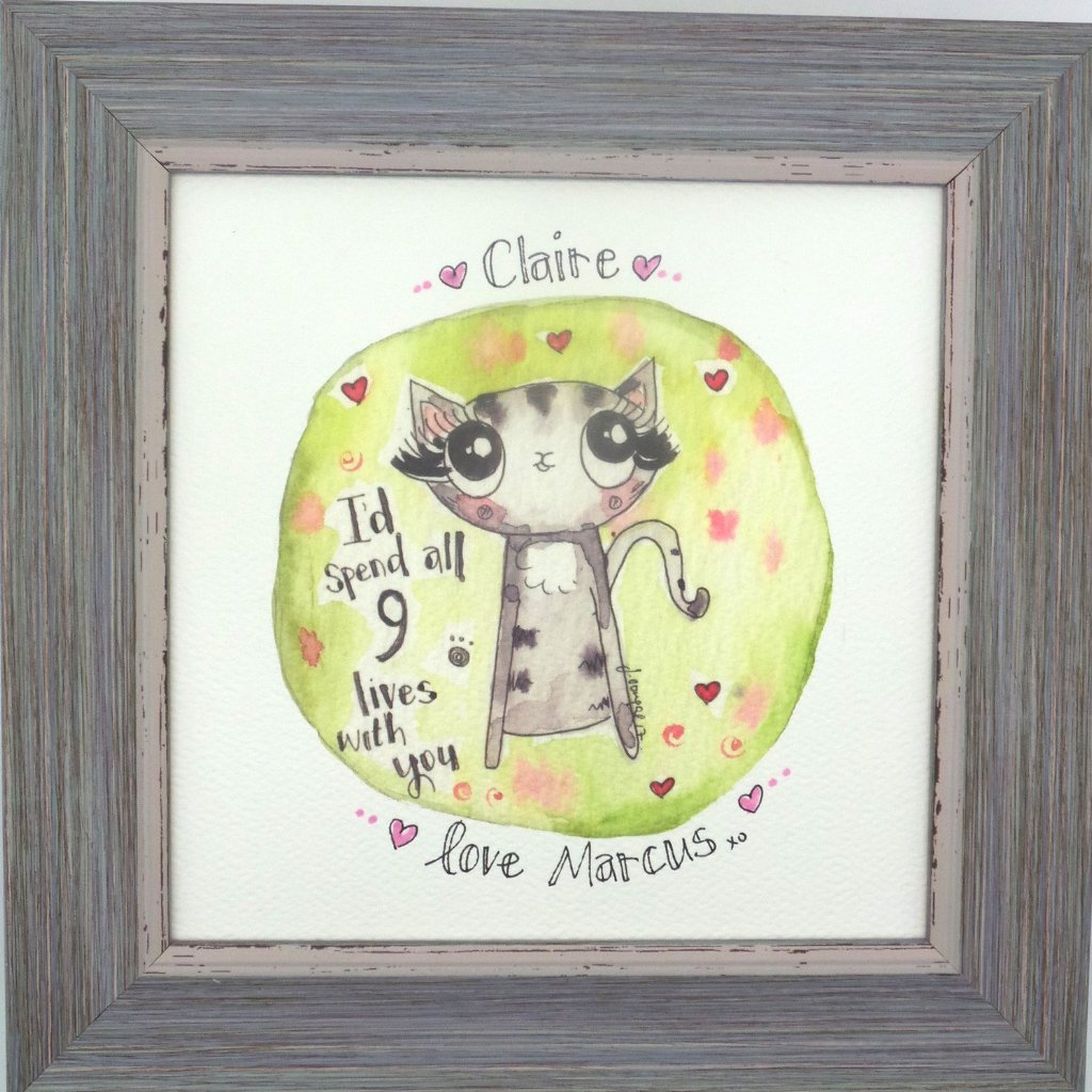 "Framed Print ""9 Lives"" can be personalised"
