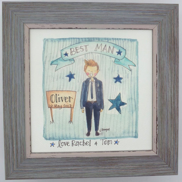"Framed Print ""Cute Best Man"" can be personalised"