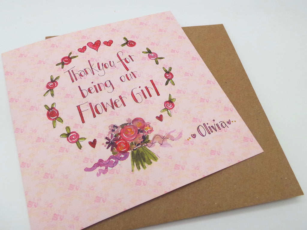 Thank You for being our Flower Girl Square Card - Personalised