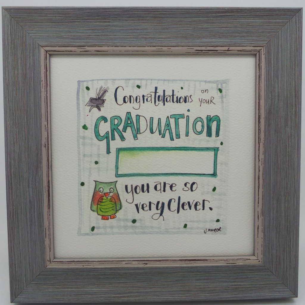 "Framed Print ""Graduate Owl"" can be personalised"