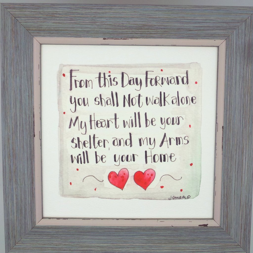 "Framed Print ""You Shall Not Walk Alone"" can be personalised"