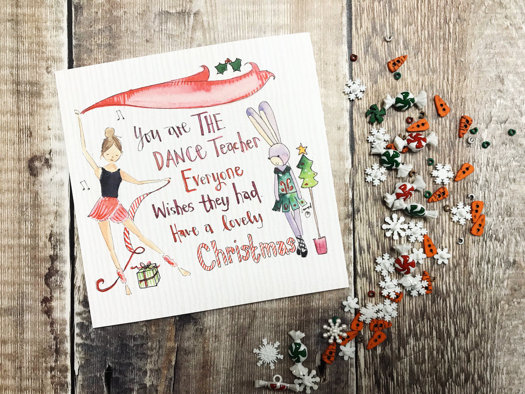 """Merry Christmas Dance Teacher"" Christmas Card - Personalised"