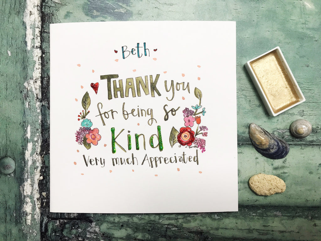 Thank You for your Kindness Card - Personalised