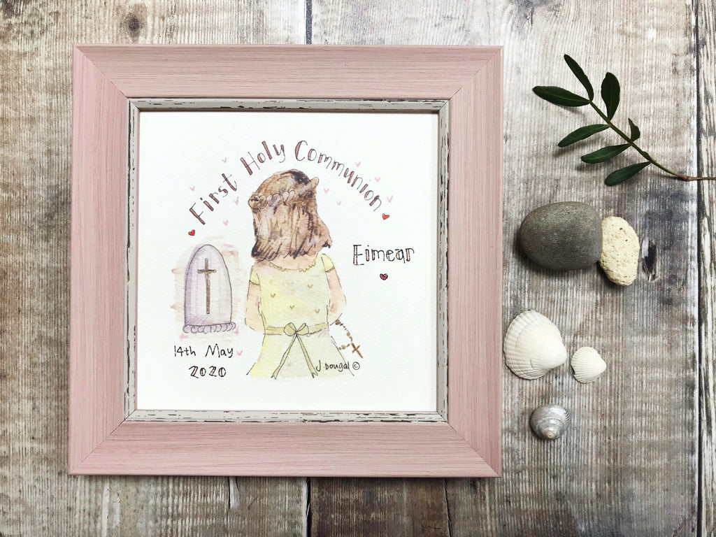 "Framed Print Girl ""First Holy Communion Praying"" can be personalised"