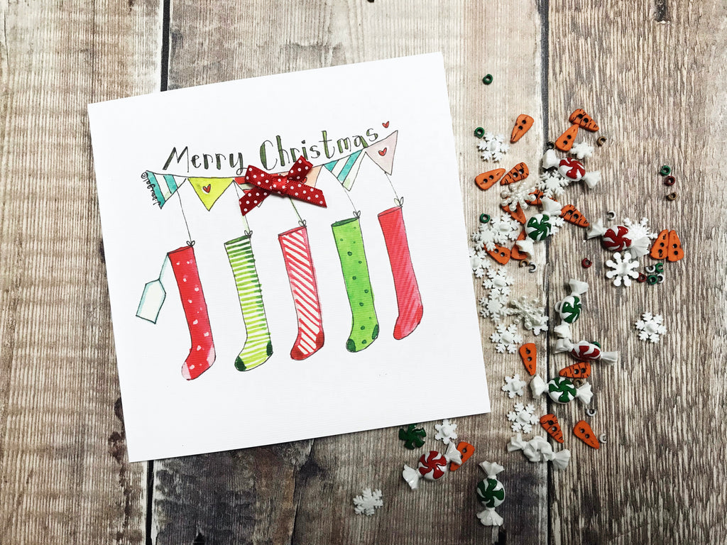 """5 Stockings"" Christmas Card - Personalised"