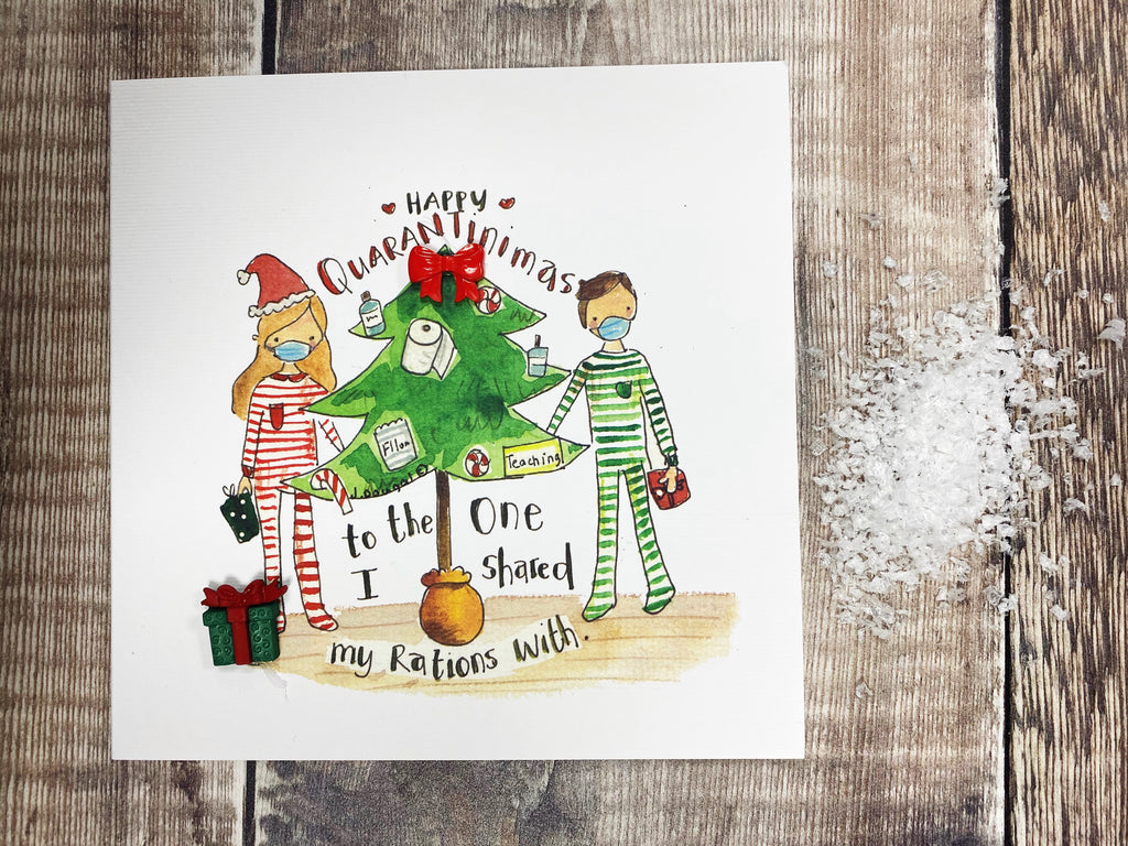 """Merry Christmas to the one I Love Happy Quarantimas"" Christmas Card - Personalised"