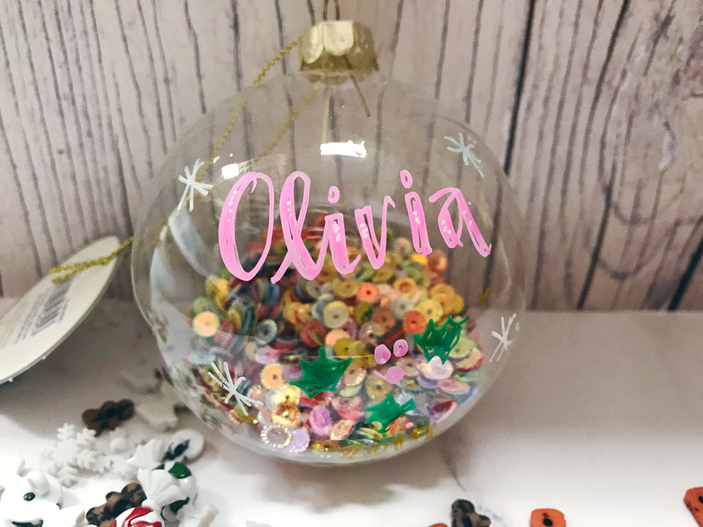 Rainbow sequin personalised bauble