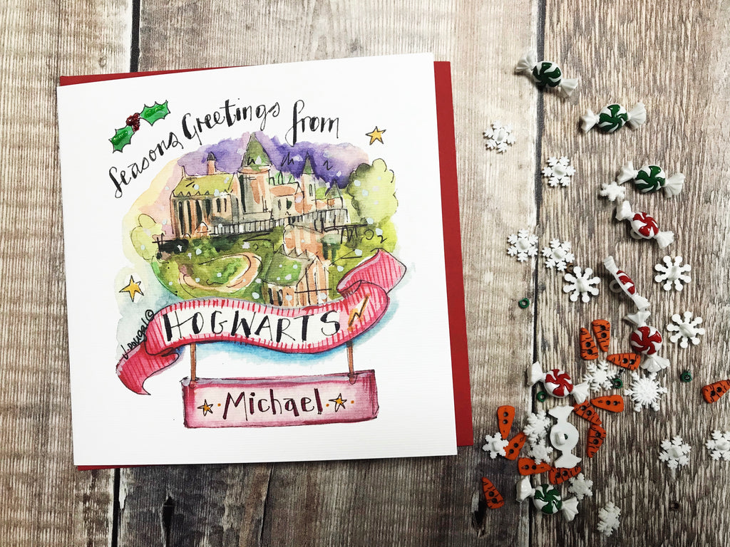 """Merry Christmas from Hogwarts"" Card - Personalised"