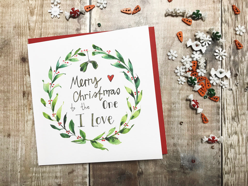 """Merry Christmas to the one I Love"" Christmas Card - Personalised"
