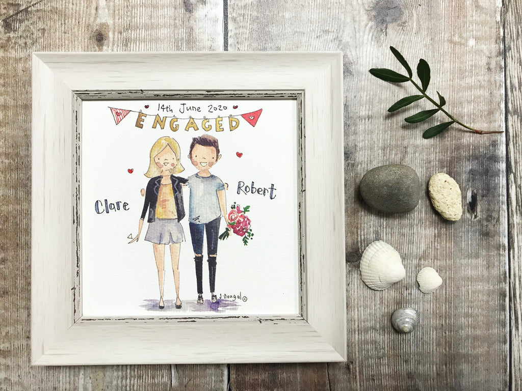 Little Framed Print Engaged Balloons can be personalised