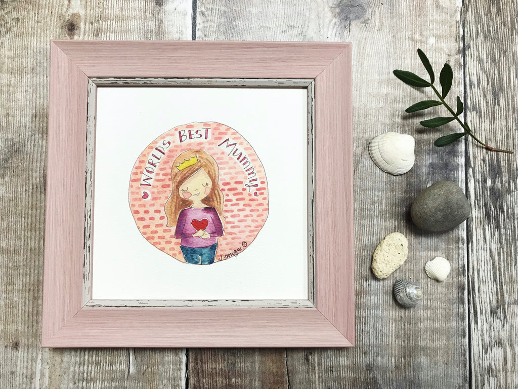 "Framed Print ""World's Best Mum"" can be personalised"