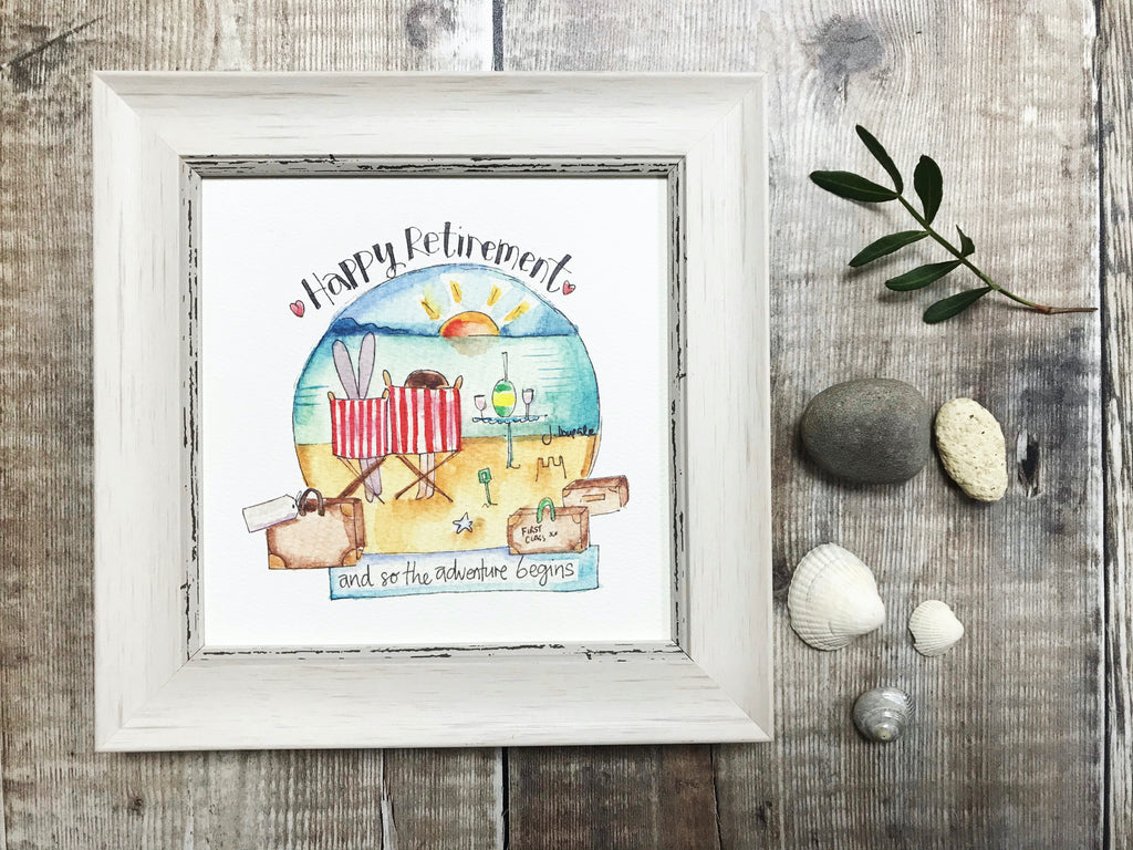 "Little Framed Print ""Retirement, 2 deckchairs"" can be personalised"