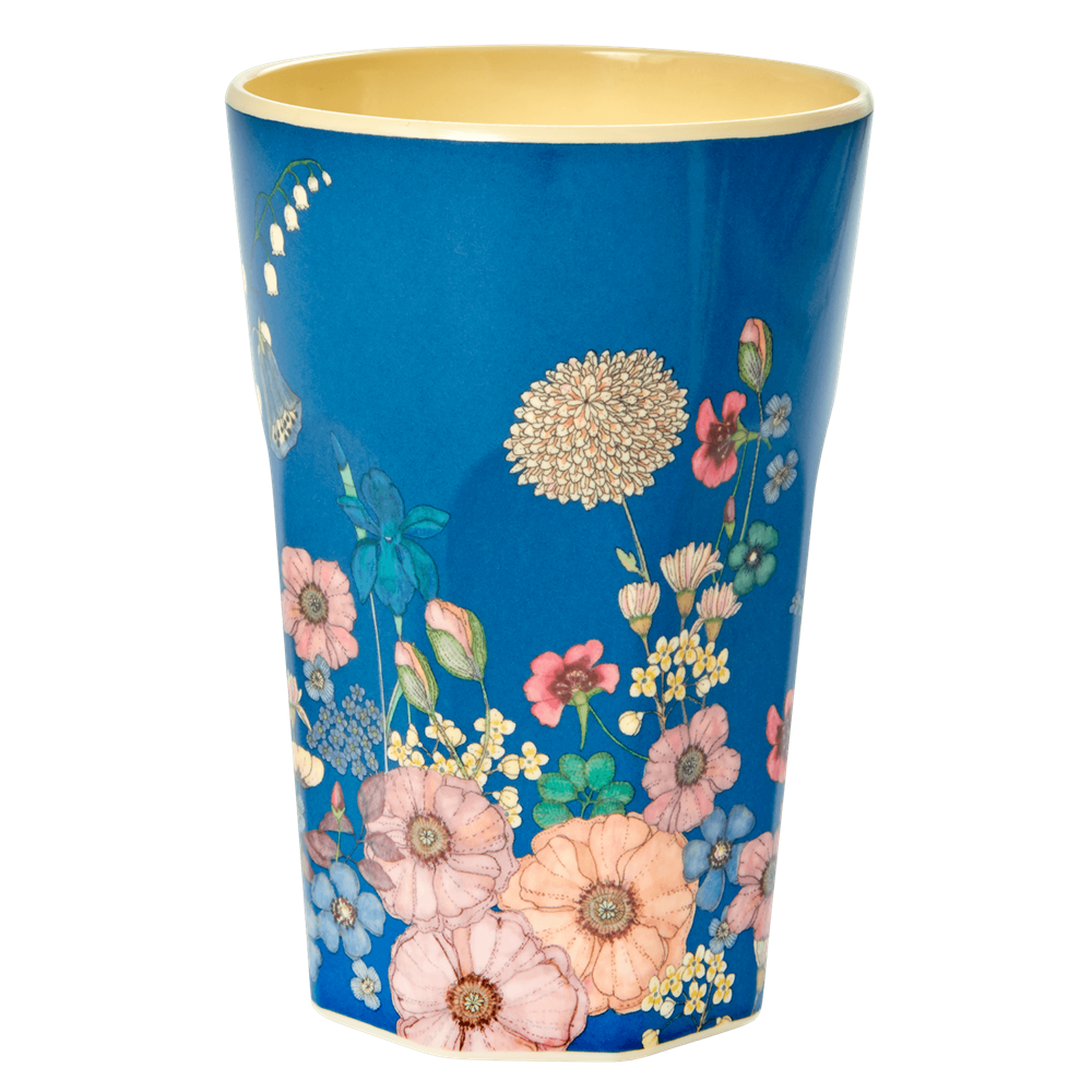 Rice Tall Flower Collage Melamine Cup