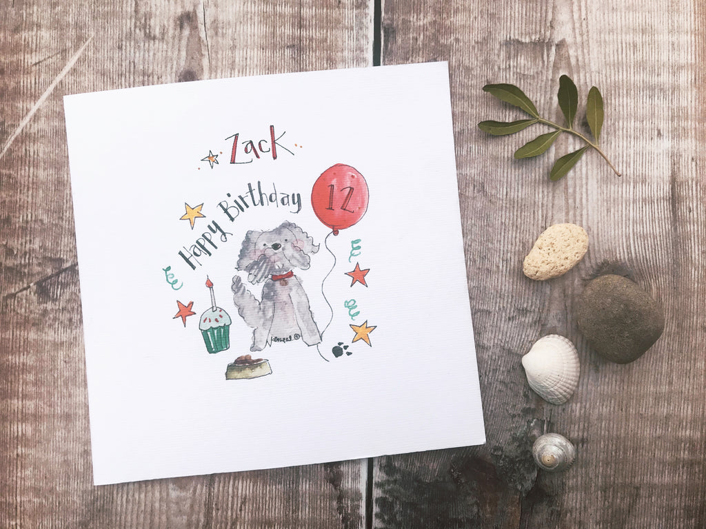 Dog Birthday Card - Personalised