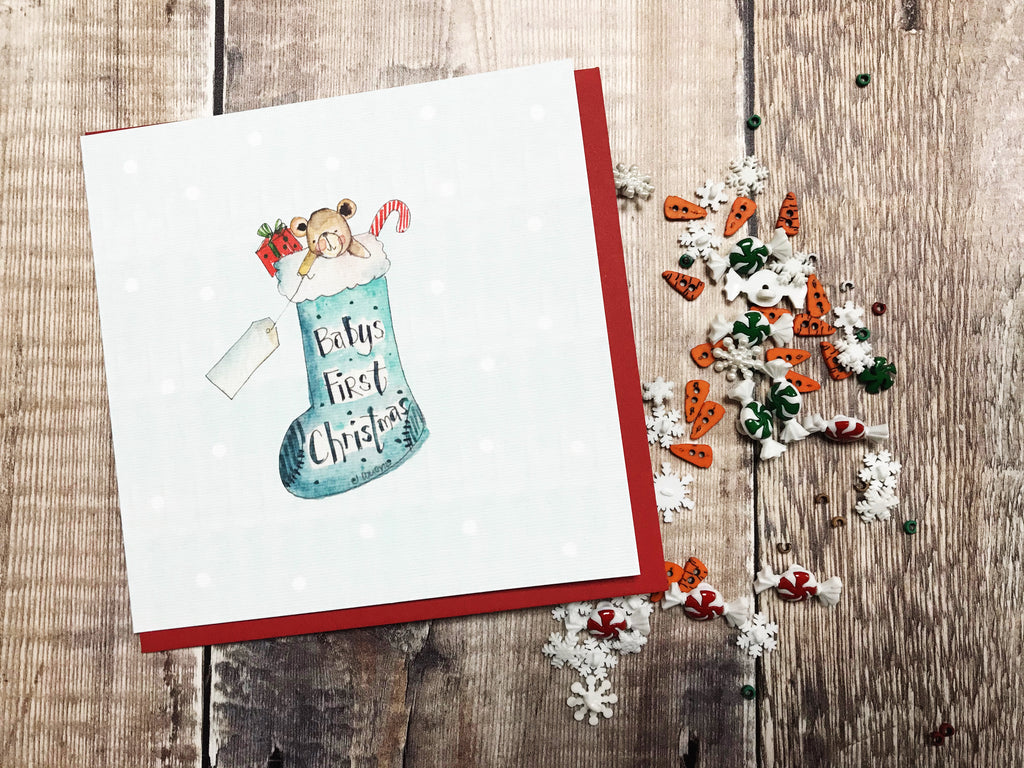 """First Christmas Baby Boy Stocking"" Christmas Card - Personalised"
