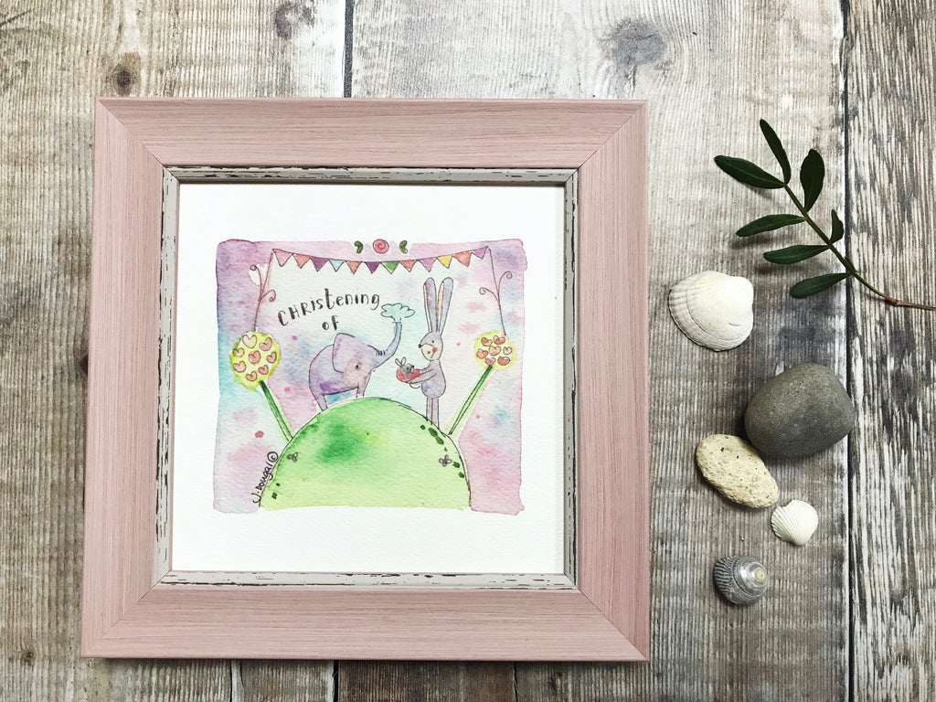 "Little Framed Print ""Christening Elephant Girl"" can be personalised"