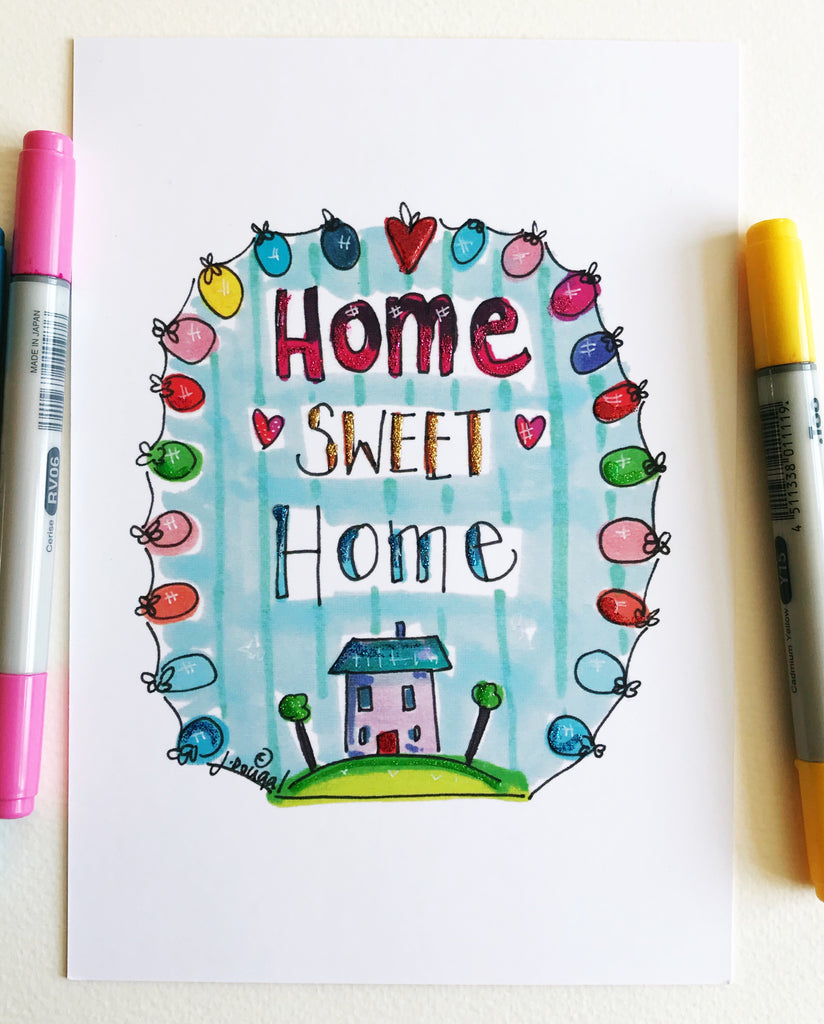 Home Sweet Home - Little Lights Glittered - A5 Print