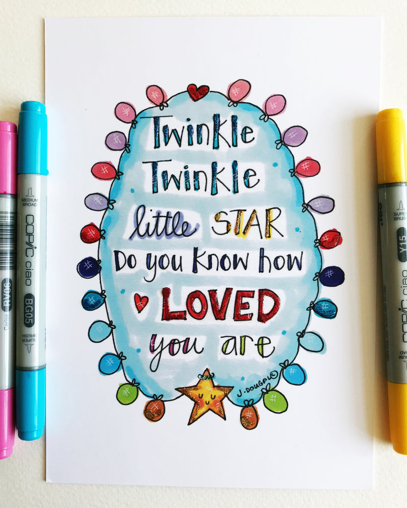 Twinkle Twinkle Little Star - Little Lights Glittered - A5 Print