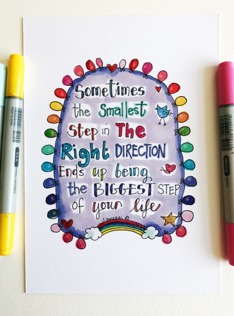 Sometimes the Smallest Step - Little Lights Glittered - A5 Print