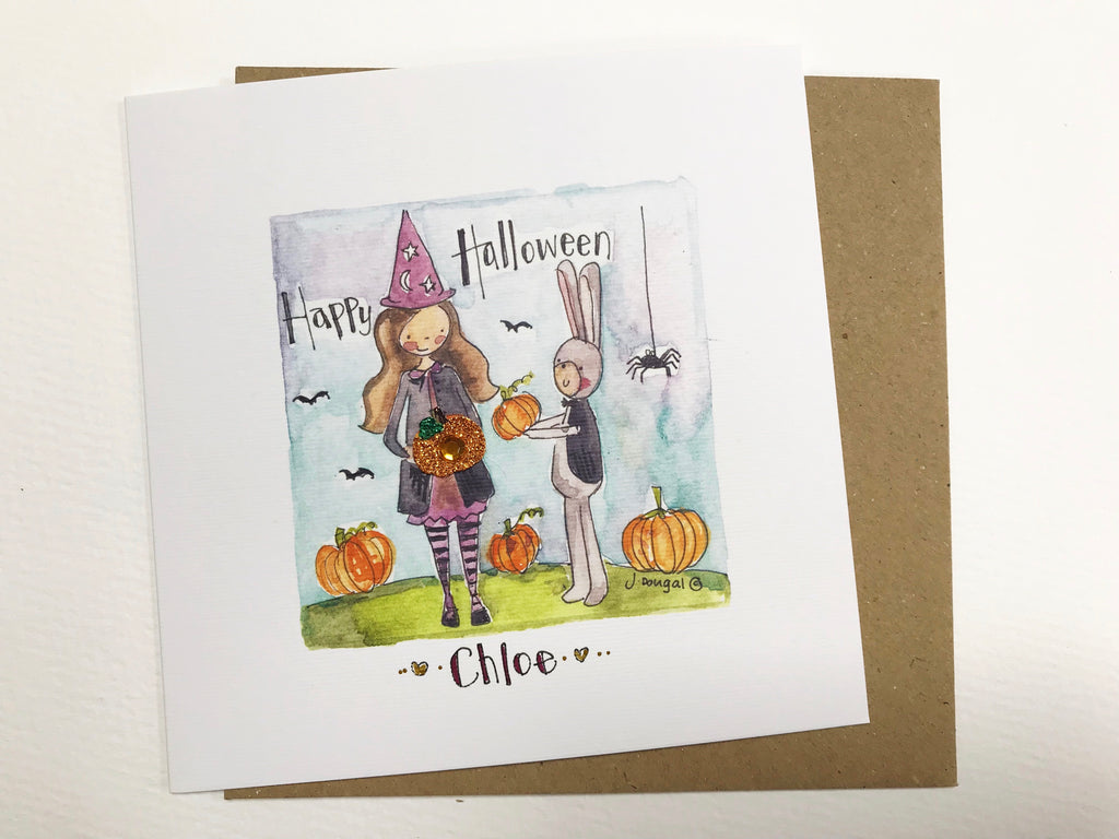 """Halloween Witches"" Card - Personalised"