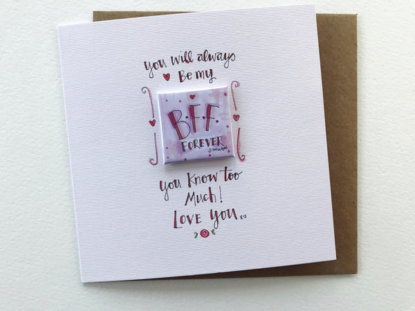 """Little Badge B.F.F."" Card - Personalised"