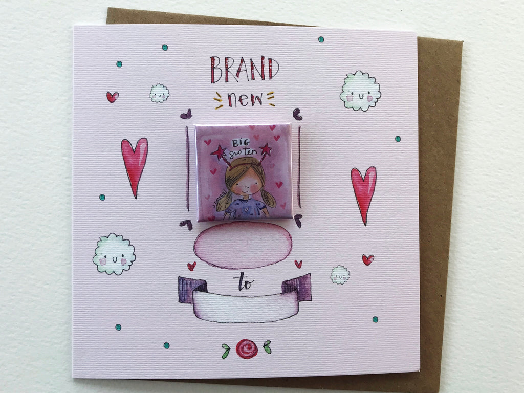 """Little Badge NEW Big Sister"" Card - Personalised"