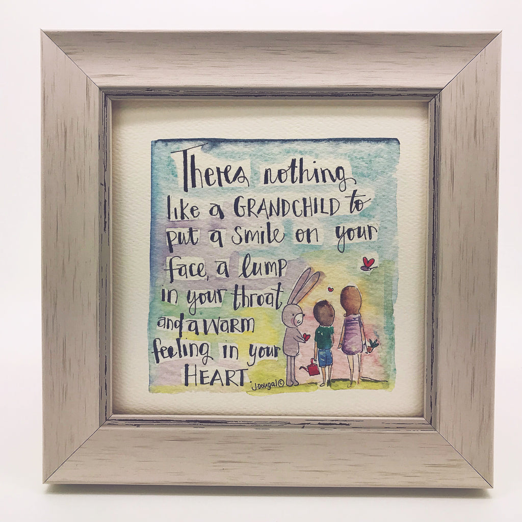 "Framed Print ""Theres nothing like a grandchild...."" can be personalised"