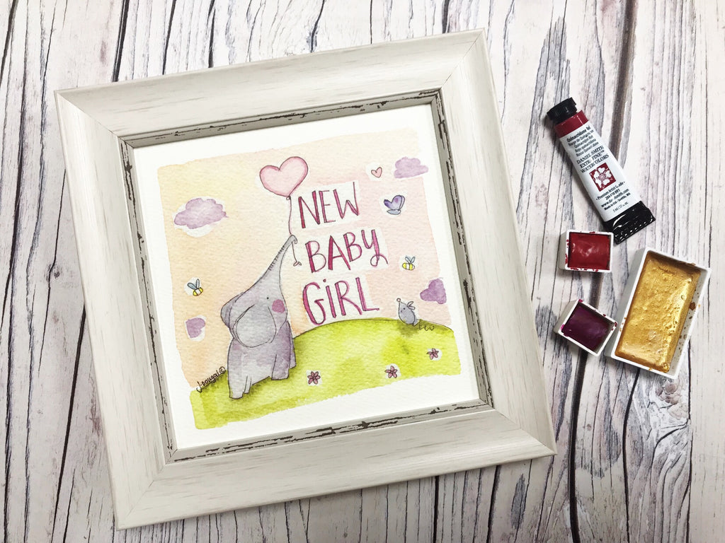 "Little Framed Print ""Baby Girl Elephant Balloon"" can be personalised"