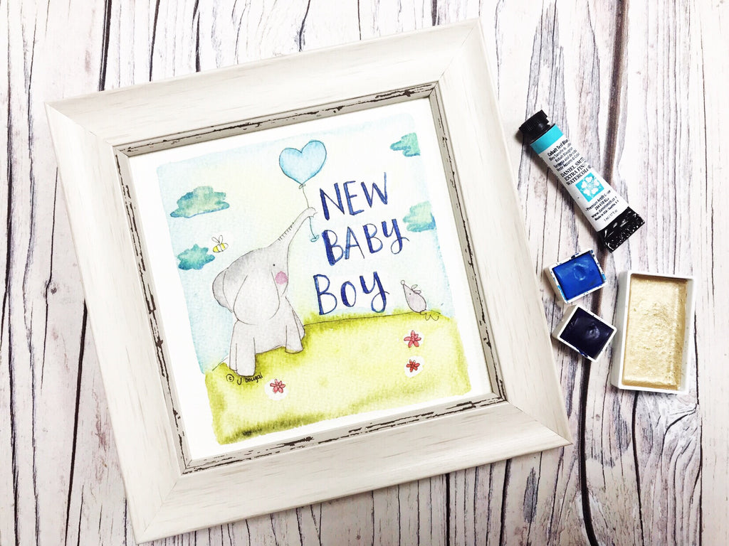 "Little Framed Print ""Baby Boy Elephant Balloon"" can be personalised"
