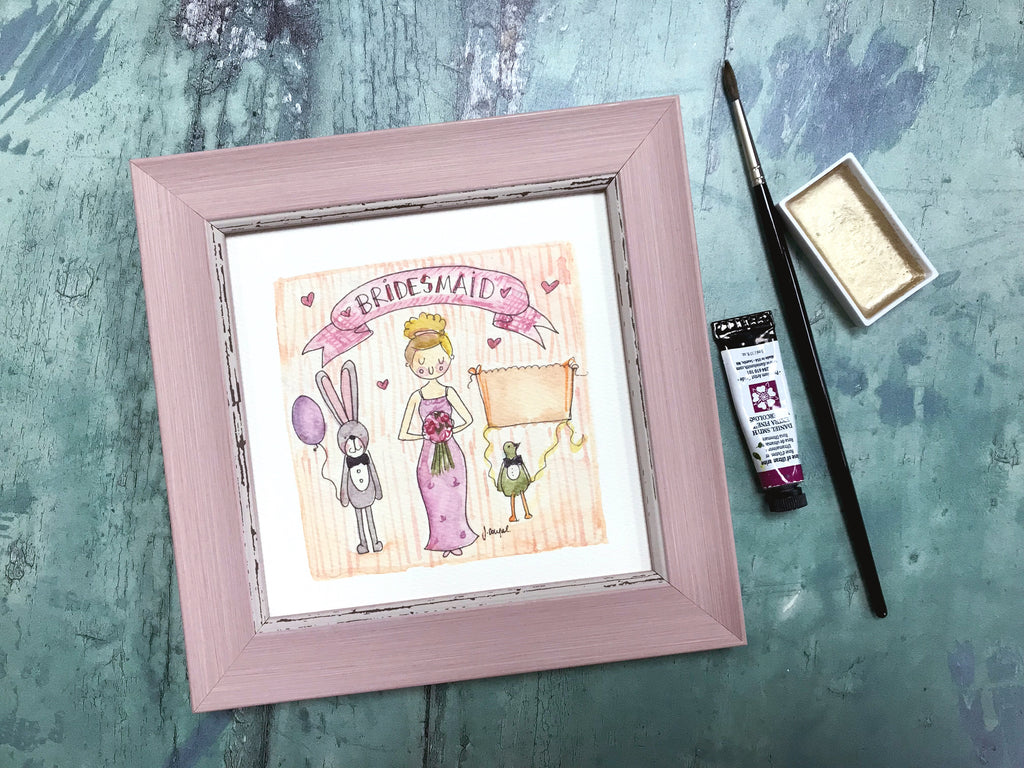 "Framed Print ""Bridesmaid"" can be personalised"