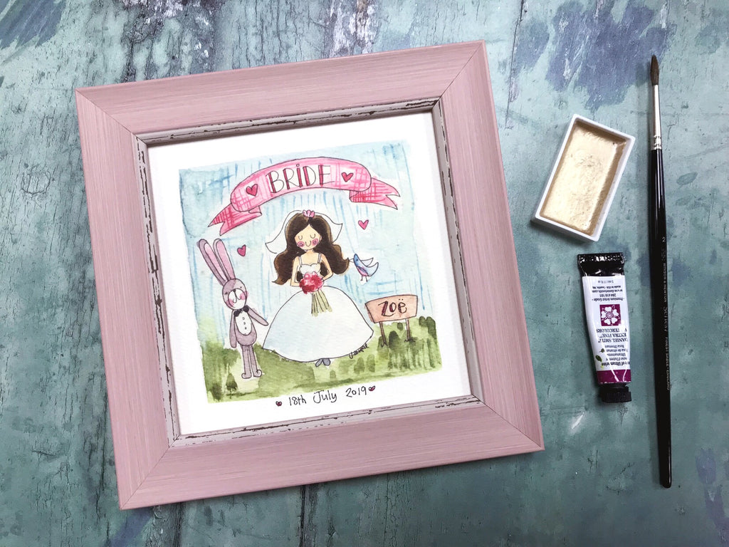 "Framed Print ""Bride"" can be personalised"