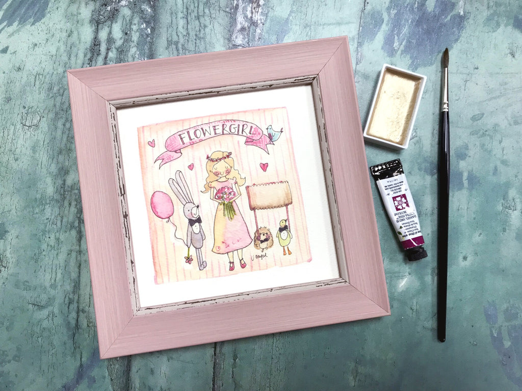 "Framed Print ""Flower Girl"" can be personalised"
