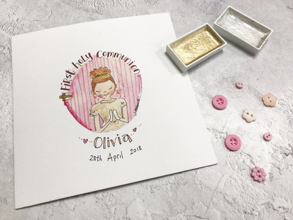 First Holy Communion, Girl Card - Personalised