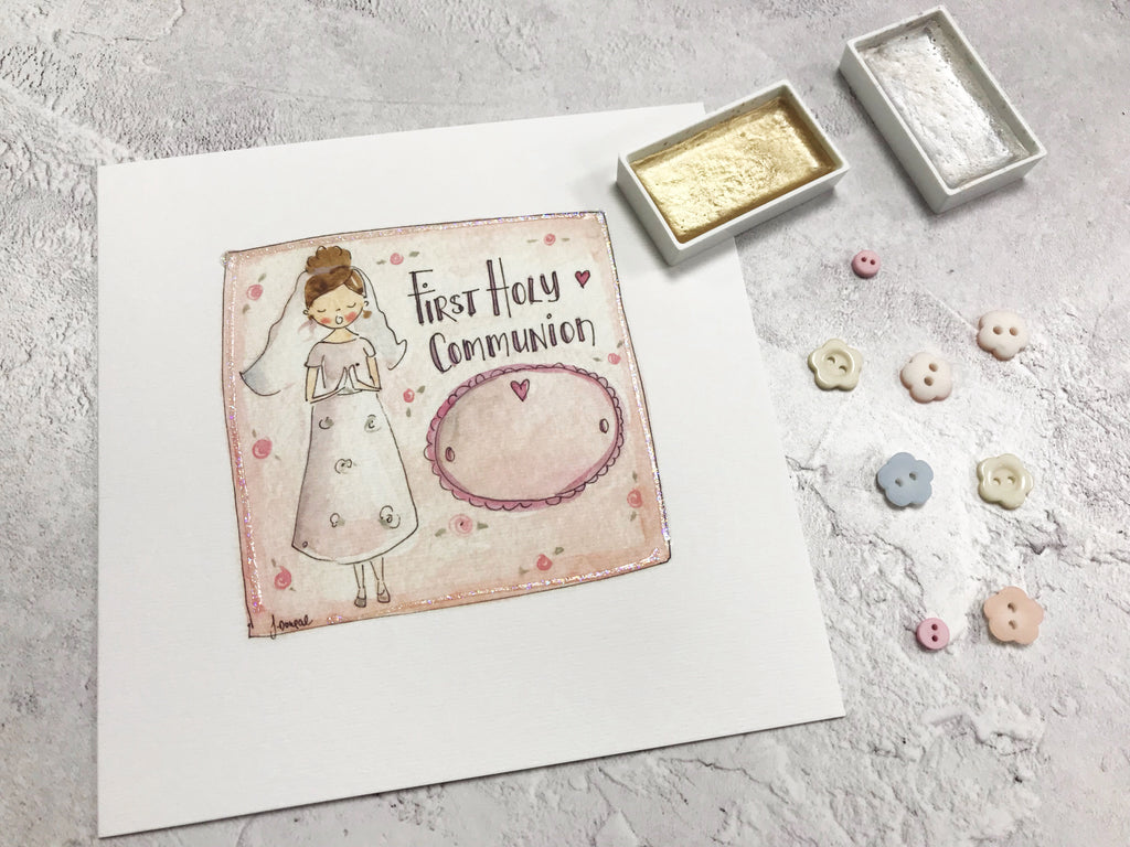 First Holy Communion, Little Girl Card - Personalised