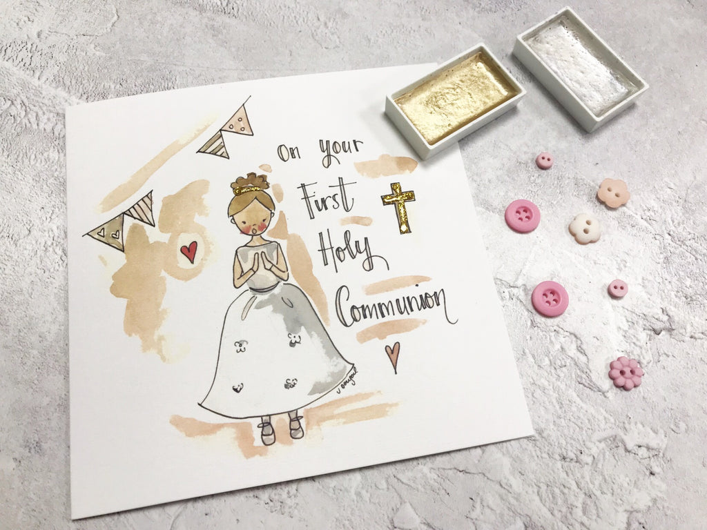Gold Cross, First Holy Communion, Girl Card - Personalised